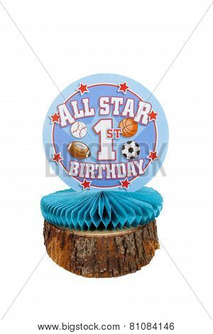 1st Birthday boy sports themed centerpiece