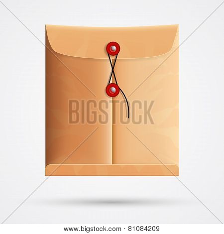 Brown paper postal envelope. Vector illustration