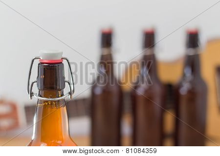 Close Up Of An Unopened Beer Bottle