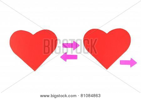 Two Red Paper Hearts With Three Pink Arrows, Concept Relationships