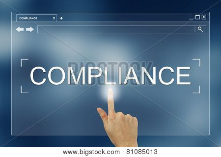 Hand Press On Compliance Button On Website