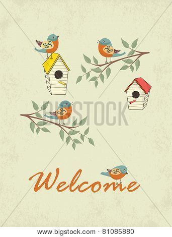 Card With Bird House