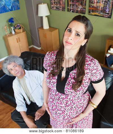 Miserable Pregnant Woman With Husband