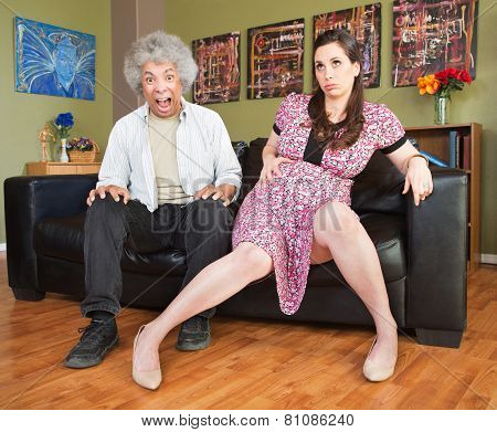 Panicking Man With Pregnant Woman