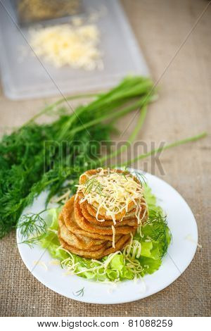 Fried Potato Pancakes With Cheese