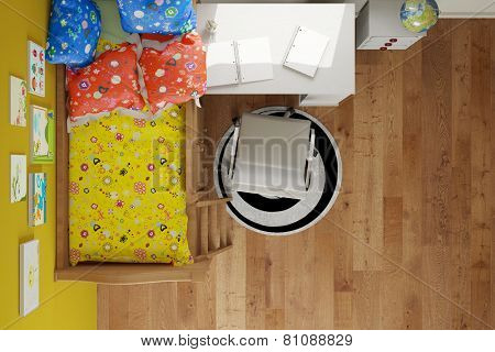Top view on nursery with bed and desk and chair (3D Rendering)