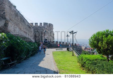Tourists At The Fortress Walls In Thessaloniki, Greece