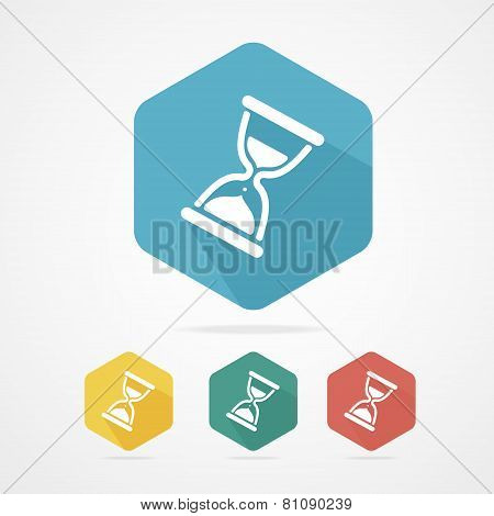 Vector flat Sand Glass Clock Icons Set