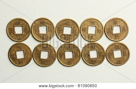 Feng shui coins isolated on white
