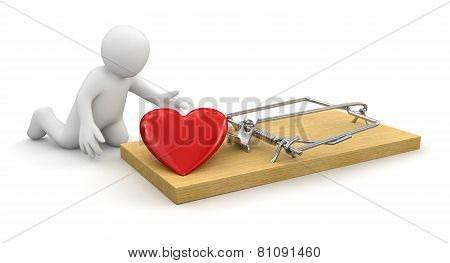 Man and Mousetrap with heart (clipping path included)