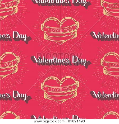 vector seamless pattern with engraving hearts,  ribbons, hand-written lettering words and burst l