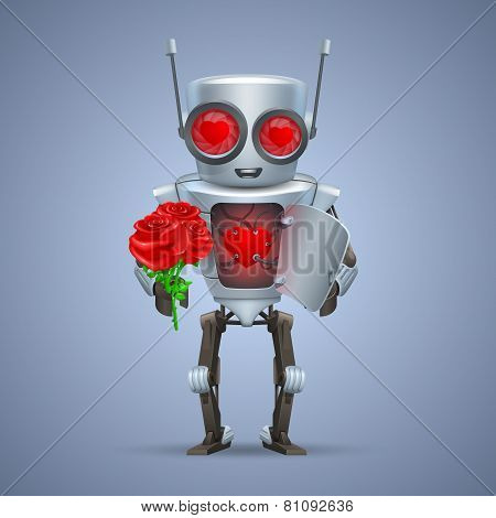 Vector robot with heart