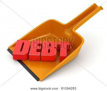 Dustpan and debt (clipping path included)