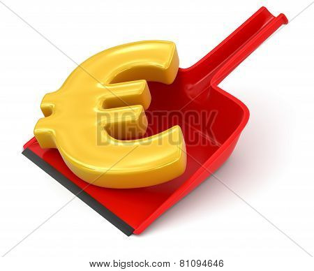 Dustpan and Euro Sign (clipping path included)