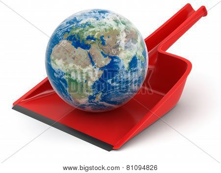 Dustpan with Globe (clipping path included)