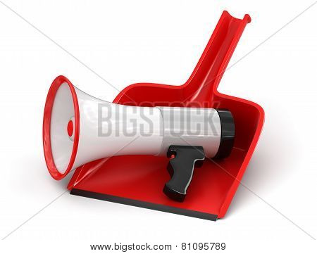 Dustpan and Megaphone (clipping path included)