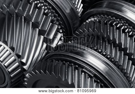 Gear metal wheels close-up