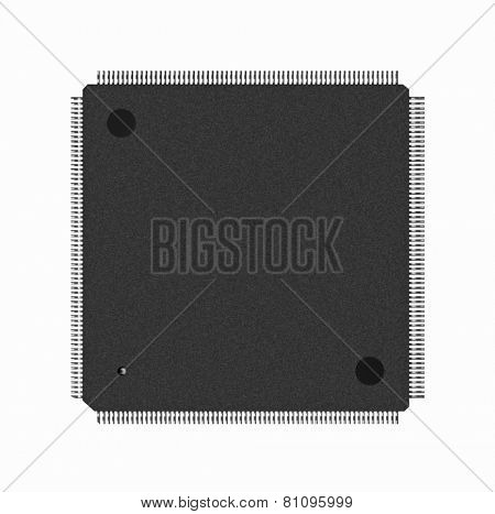 Closeup of electronic processor, isolated on white