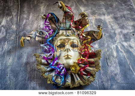 Classical Venetian Carnival Mask And Serpentine