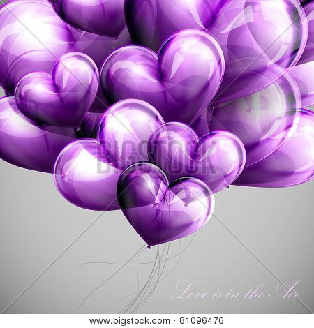 vector holiday illustration of flying bunch of violet balloon hearts. Valentines Day or wedding back