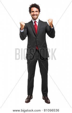 Successfull businessman isolated on white