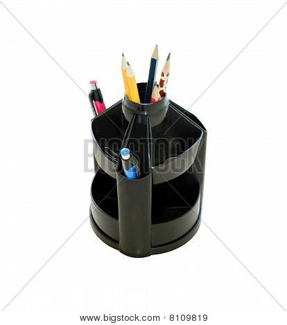 Office black pen holder with pens and pencils, isolated on white