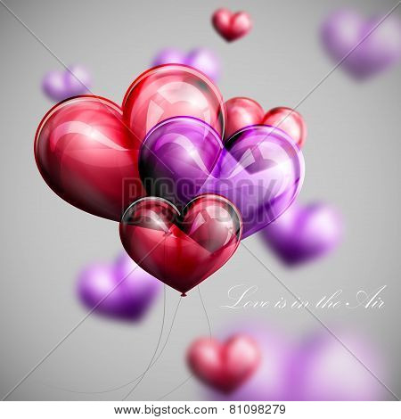 vector holiday illustration of flying bunch of multicolored balloon hearts. Valentines Day or weddin