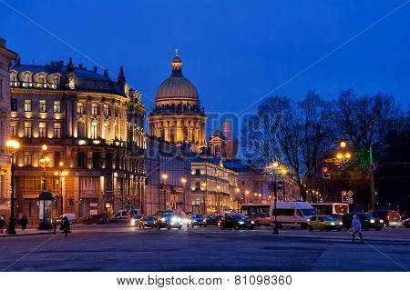 Evening illumination of Saint Petersburg, Russia