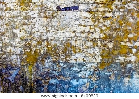 Old Concrete Wall With Spots And Cracks