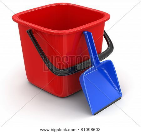 Bucket and dustpan (clipping path included)