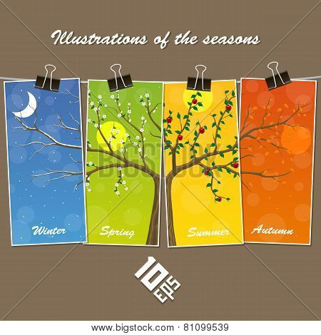 Seasons are suspended on clothespin