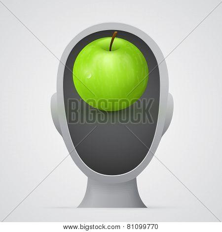 Green apple inside head silhouette.
