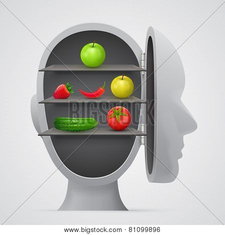 Vegetables inside head. Vegetarian concept.