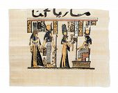 stock photo of isis  - Egyptian papyrus showing Nefertari and Isis - JPG