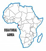 image of guinea  - Equatorial Guinea outline inset into a map of Africa over a white background - JPG