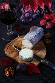 foto of collate  - Autumn still life: grapes scarlet leaves French blue cheese and glass of red wine ** Note: Shallow depth of field - JPG