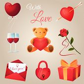 picture of vines  - Valentines day icons set - JPG