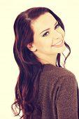 picture of bolero  - Beautiful sexy young woman in browm bolero jacket - JPG