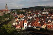 picture of bohemia  - Krummau Castle and St Vitus Church over tiled roofs in Cesky Krumlov - JPG