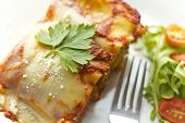 picture of lasagna  - Home made cheese lasagna with arugula salad  - JPG