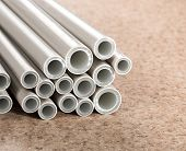 stock photo of thermoplastics  - Heap of pipes - JPG