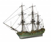 stock photo of slaves  - Beautiful detailed old Aurora slave ship isolated in white background  - JPG