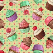 foto of cupcakes  - Yummy colorful cream cupcake seamless pattern with hearts - JPG