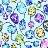 picture of precious stone  - Seamless pattern of colorful hand drawn precious stones and chains - JPG