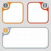 pic of bit coin  - set of three vector frames and bit coin symbol - JPG