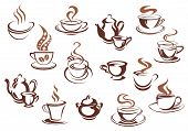 picture of latte  - Coffee cups and pots in doodle sketch style - JPG