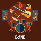 foto of drum-set  - Musical band flat concept with drum set - JPG