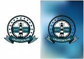 stock photo of lighthouse  - Round nautical emblem or badge of vintage lighthouse with light beams encircled stars - JPG