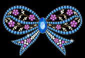 pic of brooch  - Brooch with blue stones in the form of a bow - JPG