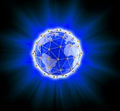 image of three dimensional shape  - Image of  Network globe on light - JPG